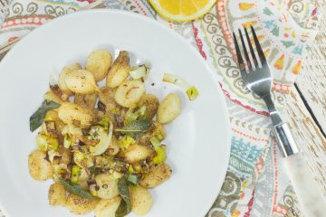 Browned Butter Lemon Gnocchi with Fried Leeks and Sage