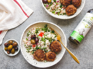 Mediterranean Meatballs Served Over a Tangy, Grain-Free Tabouli!