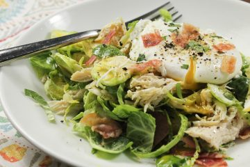 Breakfast Brussels Sprout Bowl with Poached Eggs
