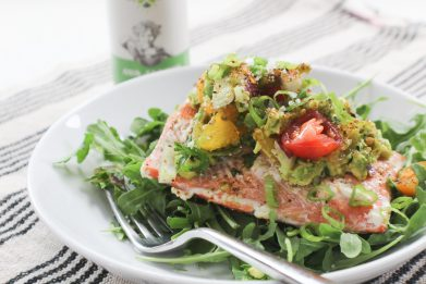Pan Seared Salmon with Smashed Avocado Salsa