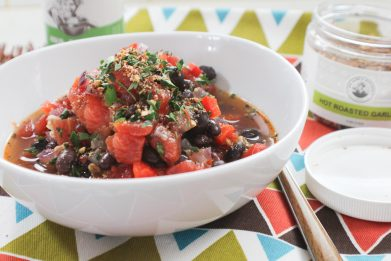 Hot Roasted Garlic Black Bean Soup