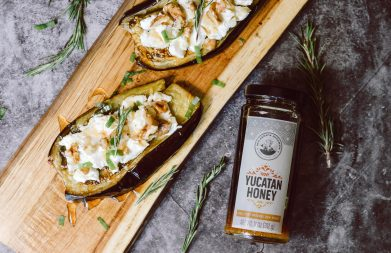 Roasted Eggplant, Goat Cheese + Honey Tapas