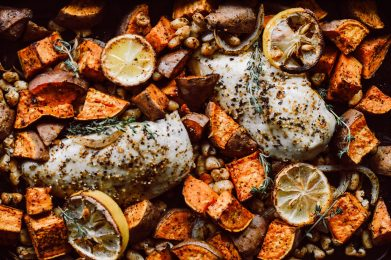 Sheet Pan Citrus Roasted Chicken with Beans + Sweet Potatoes