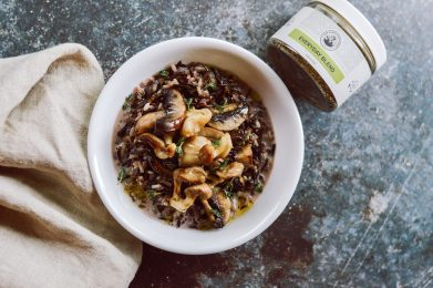 Slow Cooked Wild Rice Soup with Forest Mushrooms