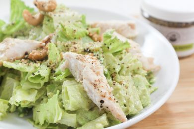 Chicken Caesar Salad with Cashew Croutons