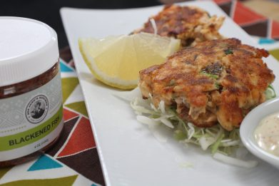 Blackened Seafood Cakes with Cajun Tartar Sauce
