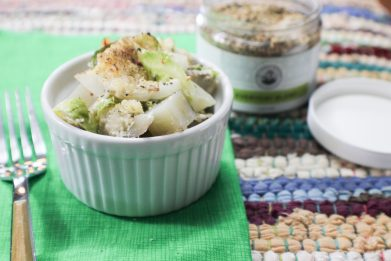 Brussels Sprout Potato Gratin