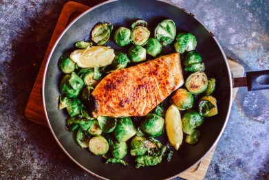 Blackened Swordfish with Seared Brussels Sprouts