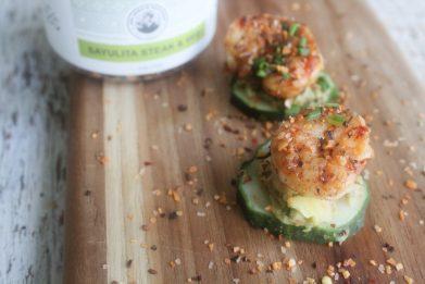 Cucumber Avocado Shrimp Bites