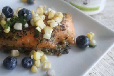 Roasted Salmon Filet with Sweet Corn and Blueberry Relish